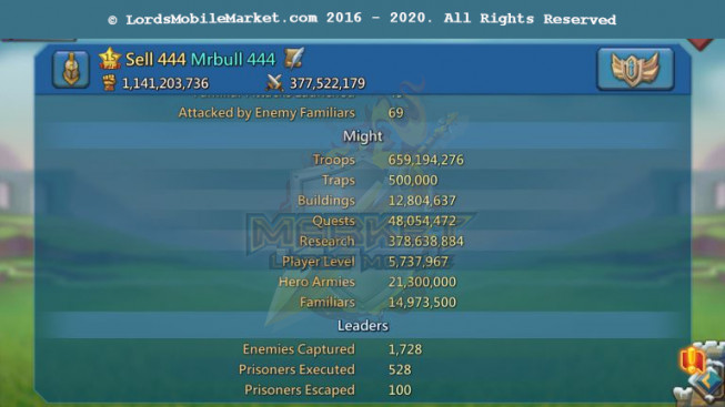 #444 All Devices Account 1B1M Might II 378M Research II Gift Unblocked II 25M Troop II 909$
