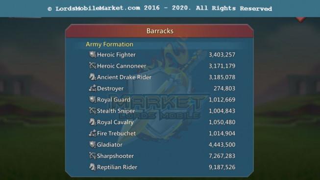475 All Devices Account 952M II Good War & Hunter Gear II 256M Research II Castle Skin II 35M Troop II 700$