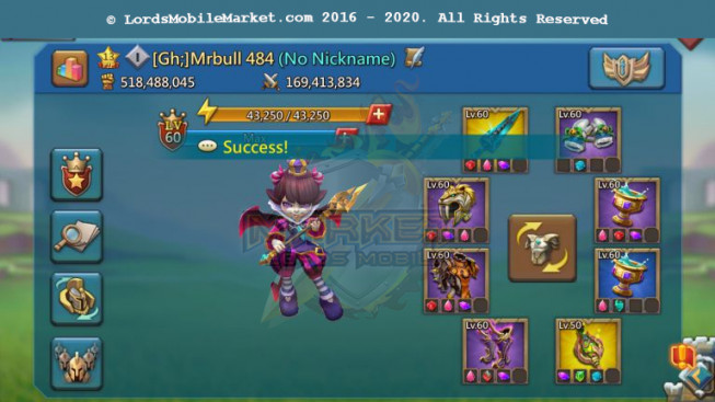 #484 Alll Devices Account 518M – 224M Research – Skin Castle SS Wyvern – 250$