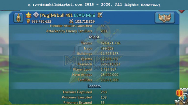 491 Lead Account 939M – 396M Research – P2p Heros Alots – Research T5 Good – 1059$