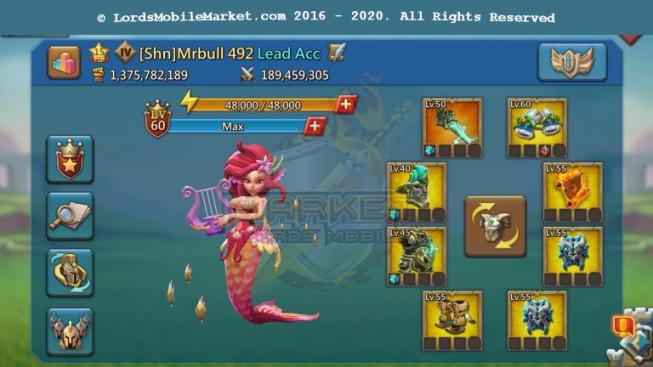 492 Lead Big Account 1B375 – 555M Reseach – 31M Troop – 3 Castle Skin – P2p Hero Alots – 1349$