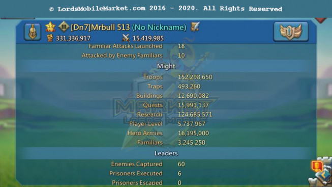 #513 All Devices Account 331M – 124M Research – 6M8 Troop – Good Familiar – 209$