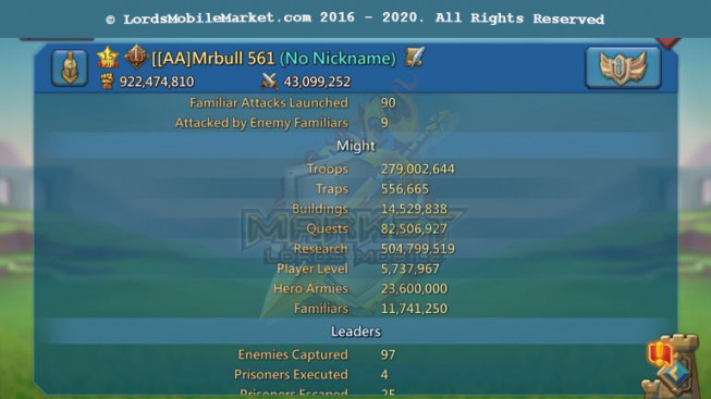 [ Super Sale Off ] 561 – Account 922M – 504M Research – Big Guy & Warcher Gold – Gift Unblocked – 15 Migrations Scroll – 779$
