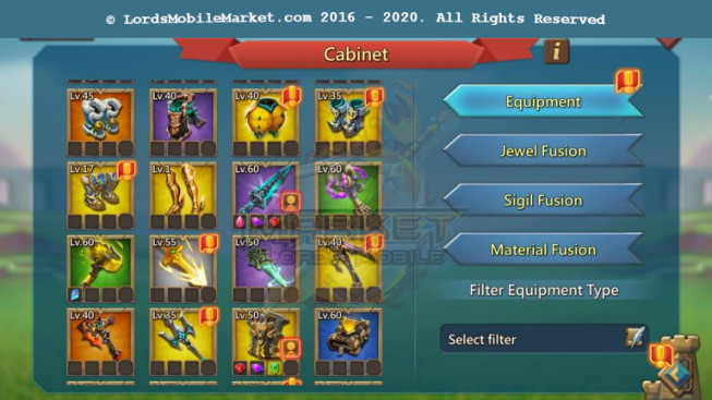 562 – Account 838M – 307M Research – 2 Skins Castle – 115K Gems – Watcher Gold – 13 Migrations Scroll – 449$