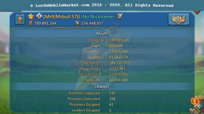 [ Super Sale Off ] 570 – Account 789M – 141K Gems – Good War Gear – 346M Research – 2 Castle Skin – 629$