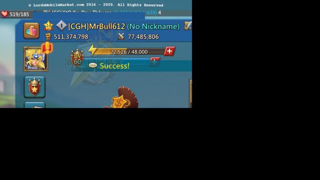 #612 511M ( 1MS Kingdom 747 , 1.1B Stone, 2B Wood, 1.4B Ore, 659M Gold )