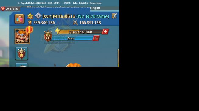 #616 639M ( 39MS Kingdom 380 , 2.4B Wood, 1,5B Ore, 1.6B Gold )
